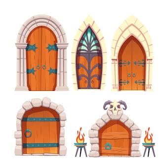 Średniowieczny zamek, drzwi lochu kreskówka wektor zestaw