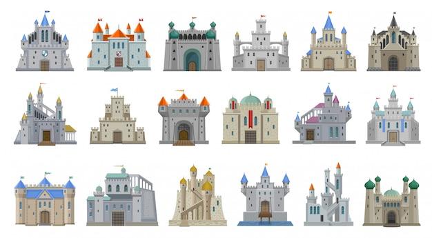 Średniowieczny zamek kreskówka zestaw ikon.