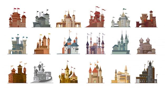 Średniowieczny zamek na białym tle kreskówka zestaw ikon.
