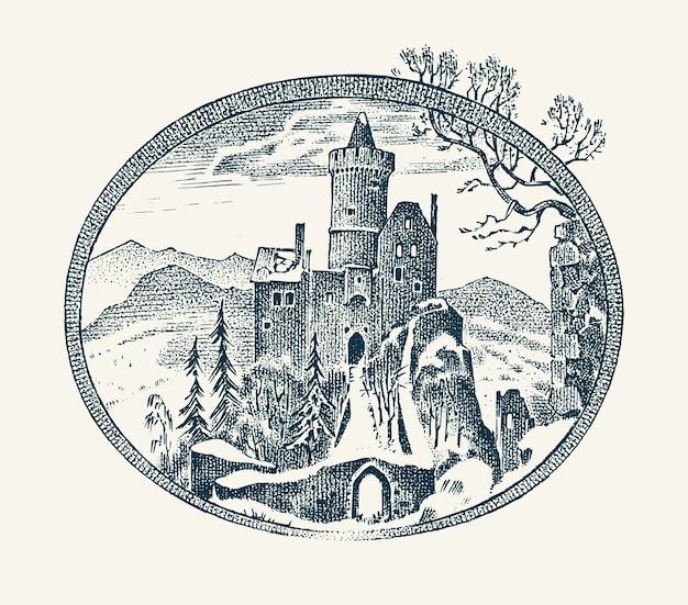 Średniowieczny zamek na białym tle