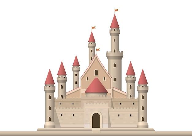 Średniowieczny zamek na białym tle.