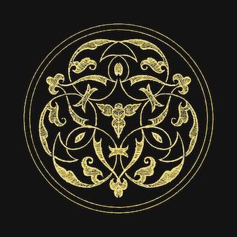 Średniowieczny złoty emblemat symbol odznaka wektor
