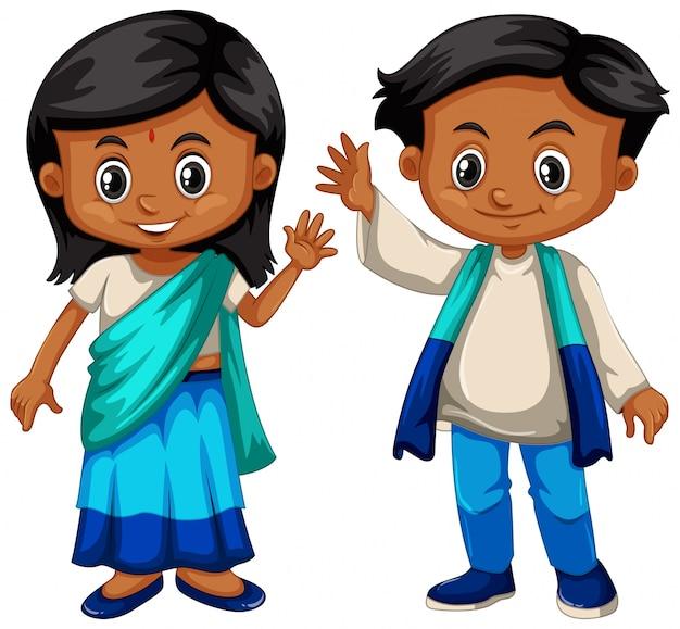 Sri lanka chłopiec i dziewczynka w tradycyjnym stroju