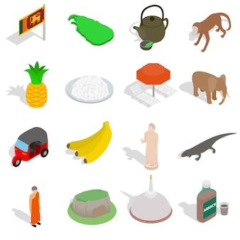 Sri-lanka ikony ustaw w izometryczny styl 3d na białym tle