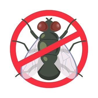 Środek ochrony przed muchami domowymi. przekreślony symbol. ilustracja