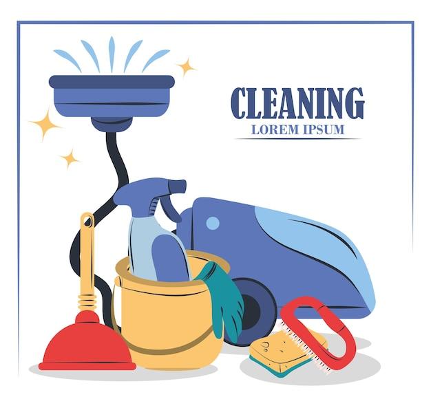Środki czyszczące sprzęt, wiaderko próżniowe, szczotka, tłok z gąbki i gąbka
