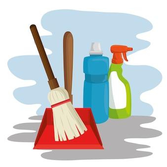 Środki czyszczące z szufelką z miotłą w sprayu