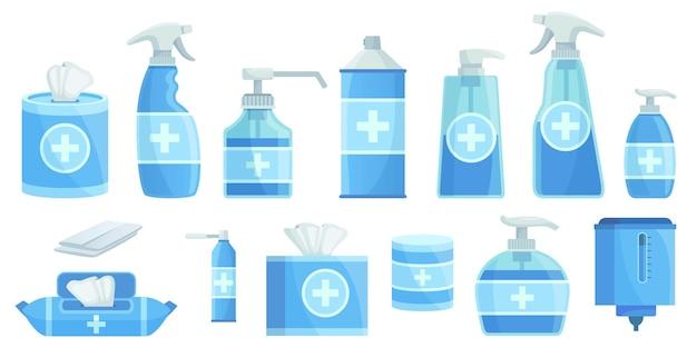 Środki dezynfekujące z kreskówek. alkohol do dezynfekcji w sprayu, dozownik antyseptycznego środka dezynfekującego i mydło w płynie dezynfekującym.
