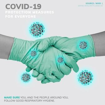 Środki ochrony covid-19 dla każdego źródła szablonu who wektor