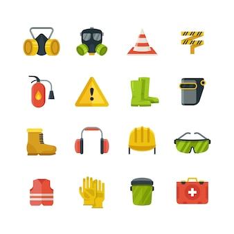 Środki ochrony osobistej dla bezpieczeństwa i ochrony pracy płaskie wektorowe ikony. sprzęt bezpieczeństwa i ochrona w stylu kolorowym