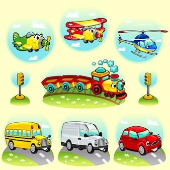 Środki Transportu Kolekcji Darmowych Wektorów