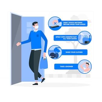 Środki zapobiegawcze po powrocie do domu (covid) ilustracja koncepcja