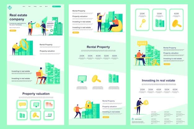Środkowa treść i stopka strony docelowej szablonu płaskiej witryny firmy nieruchomości