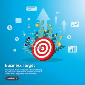Środkowy cel tarczy. osiągnięcie strategii i sukces płaski. łucznictwo rzutki cel i strzała.