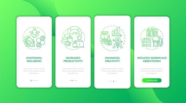 Środowisko wewnętrzne zielony wprowadzający ekran strony aplikacji mobilnej z koncepcjami