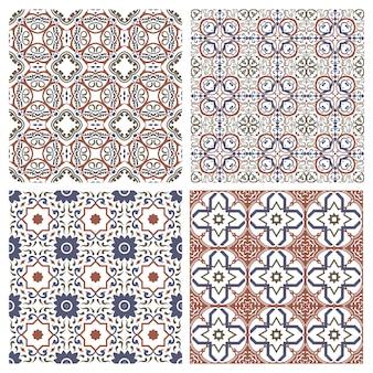 Śródziemnomorska bezszwowa mozaika osmański wzór ceramiczny