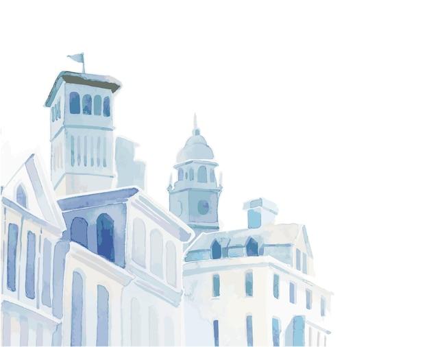 Śródziemnomorskie miasto budynek styl zewnętrzny kolor wody