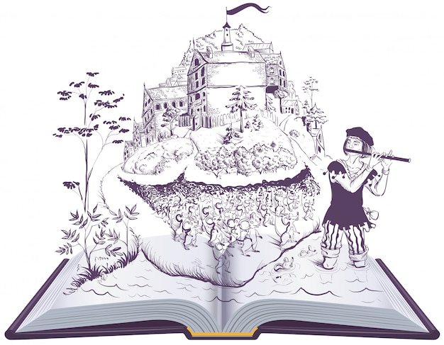 Srokaty dudziarz hameln otwarta książkowa ilustracyjna bajka