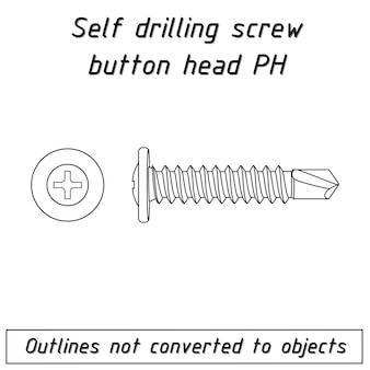 Śruba samowiercąca z łbem kulistym ph zapięcie z uszczelką schemat zarysu