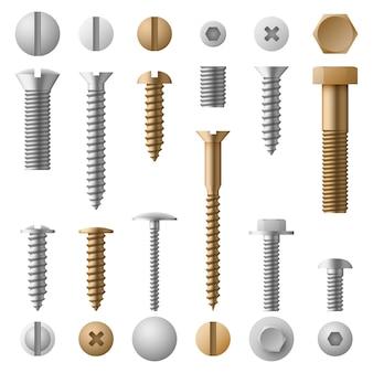Śruby ze stali nierdzewnej śruby, nakrętki, łączniki i nity na białym tle