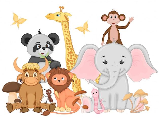 Sset zabawnych egzotycznych zwierząt
