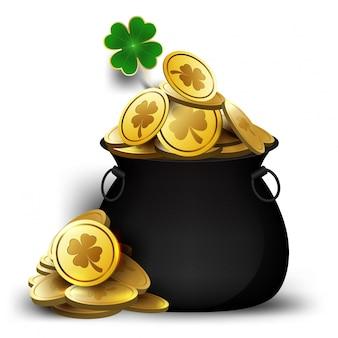 St. patrick dzień garnek z ilustracji pieniędzy