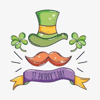 St patrick kapelusz z koniczyny i wąsy z wstążką