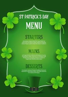 St patrick's day menu z top hat i koniczyny