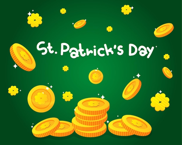 St patrick's day monety złota ilustracja kreskówka