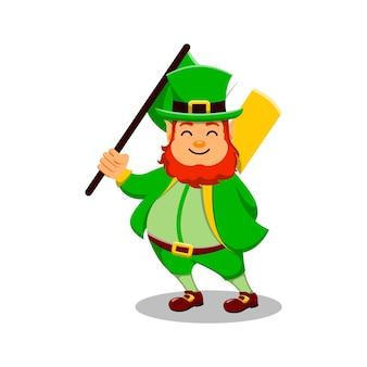 St patrick's day postać z kreskówki leprechaun trzymający flagę irlandii