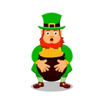 St patrick's day postać z kreskówki leprechaun z kociołkiem i monetami