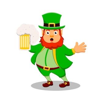 St patrick's day postać z kreskówki leprechaun z piwem