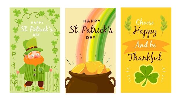St patrick's day ręcznie rysowane historie instagram