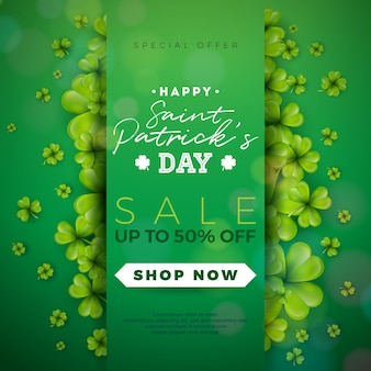 St patrick's day sale design with clover and typography letters
