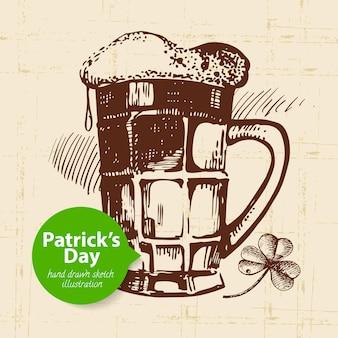 St patrick's day tło z ręcznie rysowaną ilustracją szkicu i banerem bąbelkowym