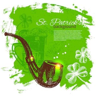 St patrick's day tło z ręcznie rysowanymi ilustracjami szkicu