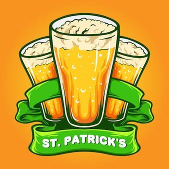 St patrick `s trzy szklanki piwa z ilustracją wstążki
