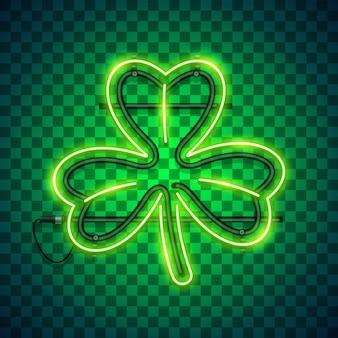 St patricks day clover neon sign dark