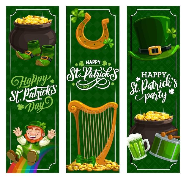 St patricks day irlandzkie banery wakacyjne. zielone piwo patricks day, liście kapeluszy i koniczyny, skarbiec krasnala ze złotymi monetami, szczęśliwa podkowa i koniczyna, tęcza, bęben spring fest, harfa