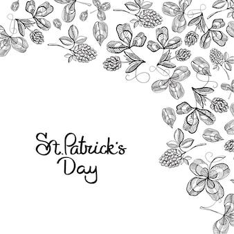 St patricks day kwiatowy z napisem i szkic ilustracji wektorowych oddziałów chmielu koniczyny irlandzkiej