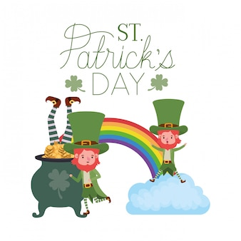 St patricks day label z charakterem krasnoludków