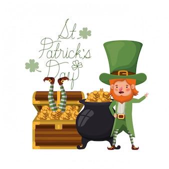 St patricks day label z charakterem leprechaun