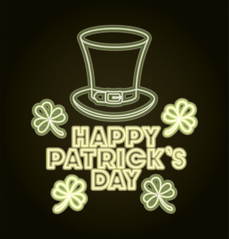 St patricks day neon label z kapeluszem lemprechaun
