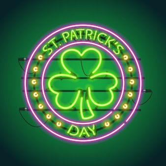 St patricks day round neon sign