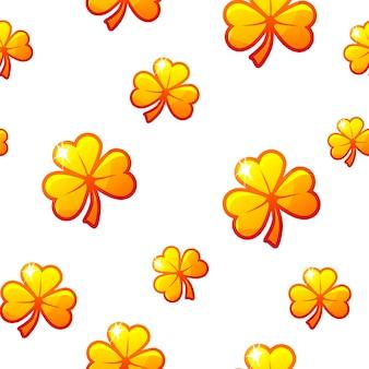 St patricks day wzór z złote koniczyny. tło, papier pakowy na wakacje z koniczynkami.