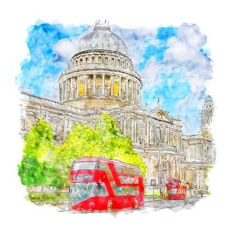 St paul's cathedral london szkic akwarela