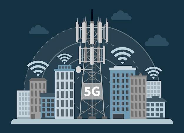 Stacja bazowa wieża 5g w innowacyjnym inteligentnym mieście, anteny telekomunikacyjne i sygnał.