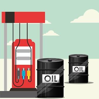 Stacja benzynowa i beczki transportują przemysł naftowy