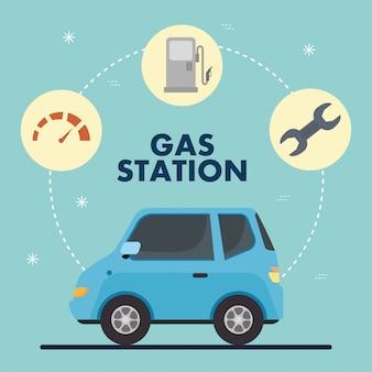 Stacja benzynowa i błękitny samochód z ikona ustalonym wektorowym projektem