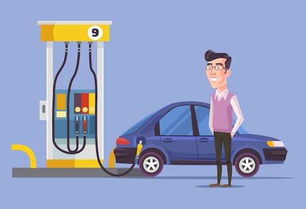 Stacja benzynowa i człowiek. płaskie ilustracji wektorowych